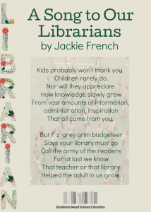 Poem by Jackie French - A Song to Our Librarians